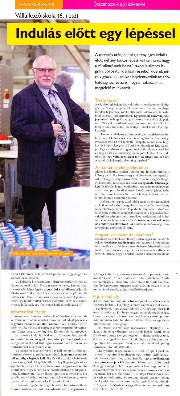 2010. december - Haszon Magazin: Vállalkozóiskola