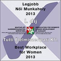 Legjobb női munkahely 2013 Díj
