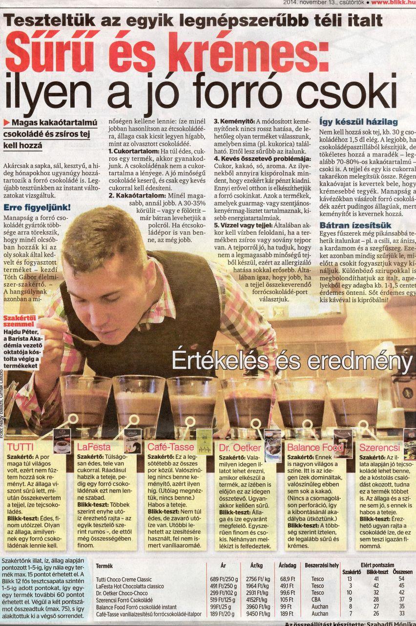 Blikk Magazin - Forró csoki teszt (2014.11.13.)