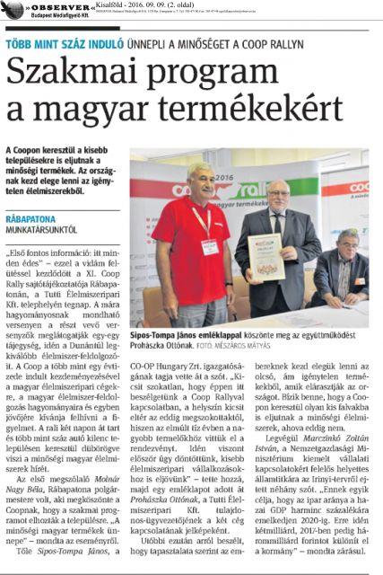 KISALFÖLD, 2016.09.09. - Coop Rally - Szakmai program a magyar termékekért