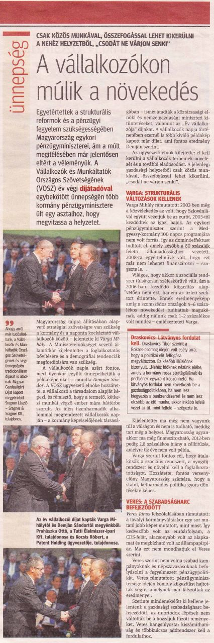 2011.12.05. - Kisalföld/Gazdaság: A vállalkozókon múlik a növekedés