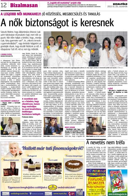 Kisalföld, Bizalmasan 2015.01.29.: A nők biztonságot is keresnek