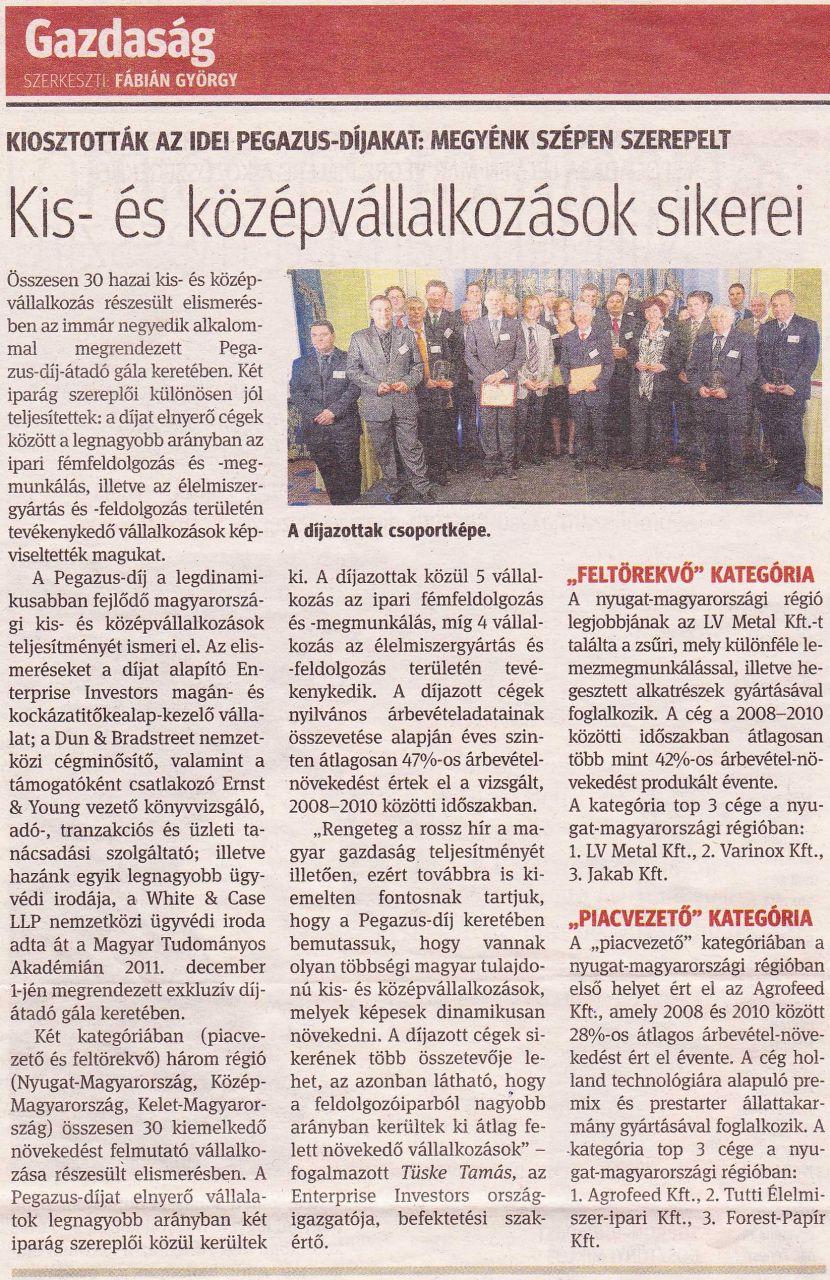 2011.12.05. - Kisalföld/Gazdaság: Kiosztották az idei Pegazus-Díjakat