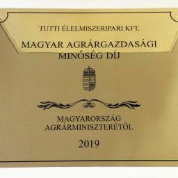 Magyar Agrárgazdasági Minőségi Díj 2019